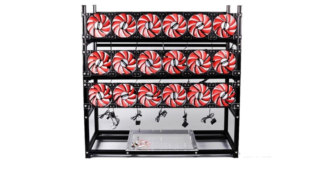 One of the several multi-GPU cases specifically designed for cryptocurrency mining.
