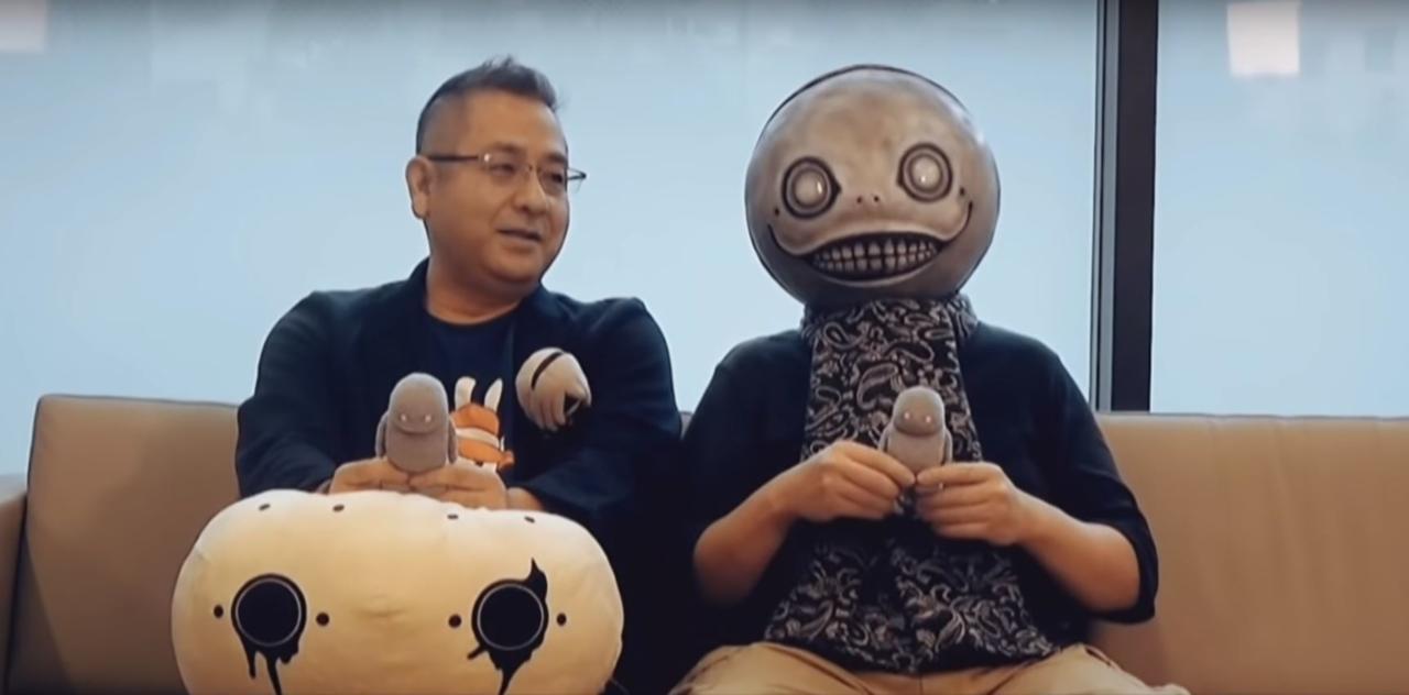 Nier Automata producer Yosuke Saito (left) and director Yoko Taro (right) during the crossover announcement.