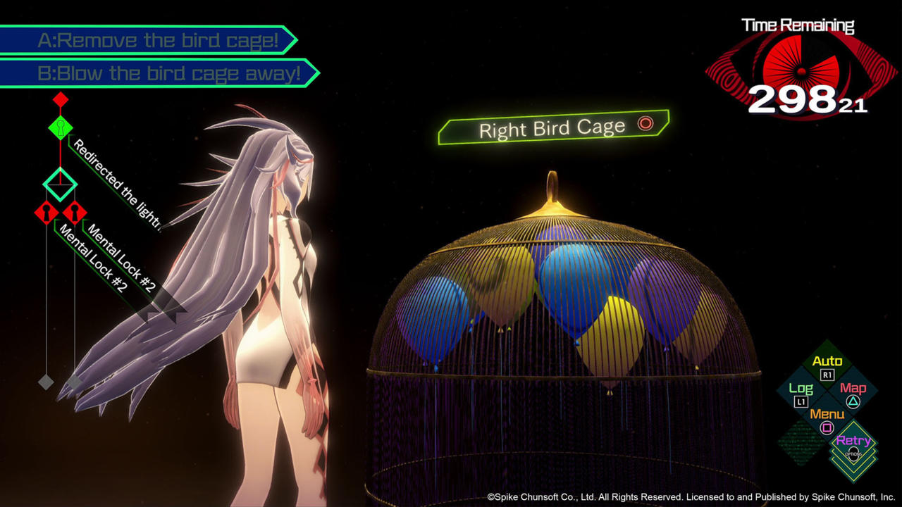 You get to control Aiba in the Somnium world, but you only get a limited time to investigate.