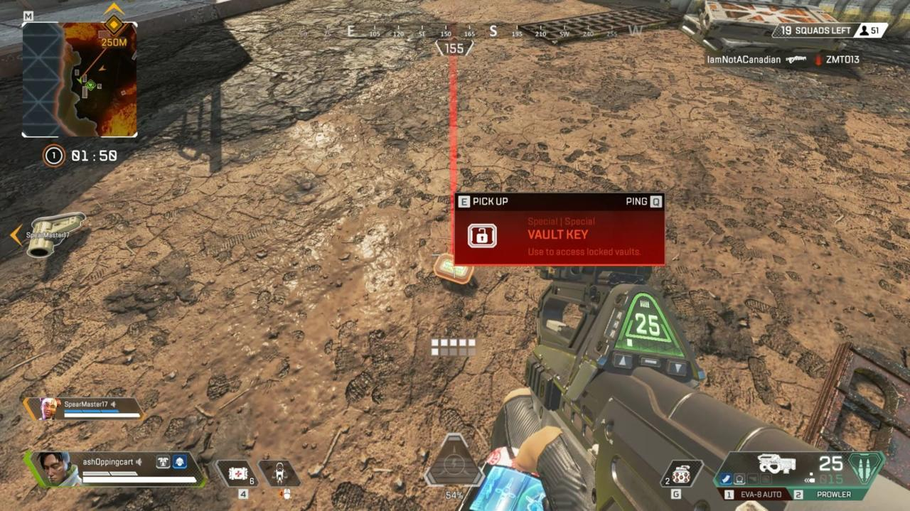 A vault key within the loot drops.