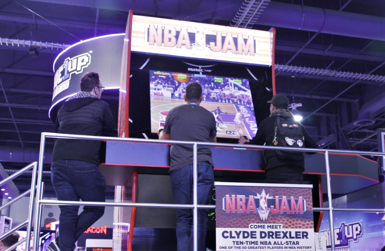 Giant NBA Jam cabinet from Arcade1Up's CES 2020 booth