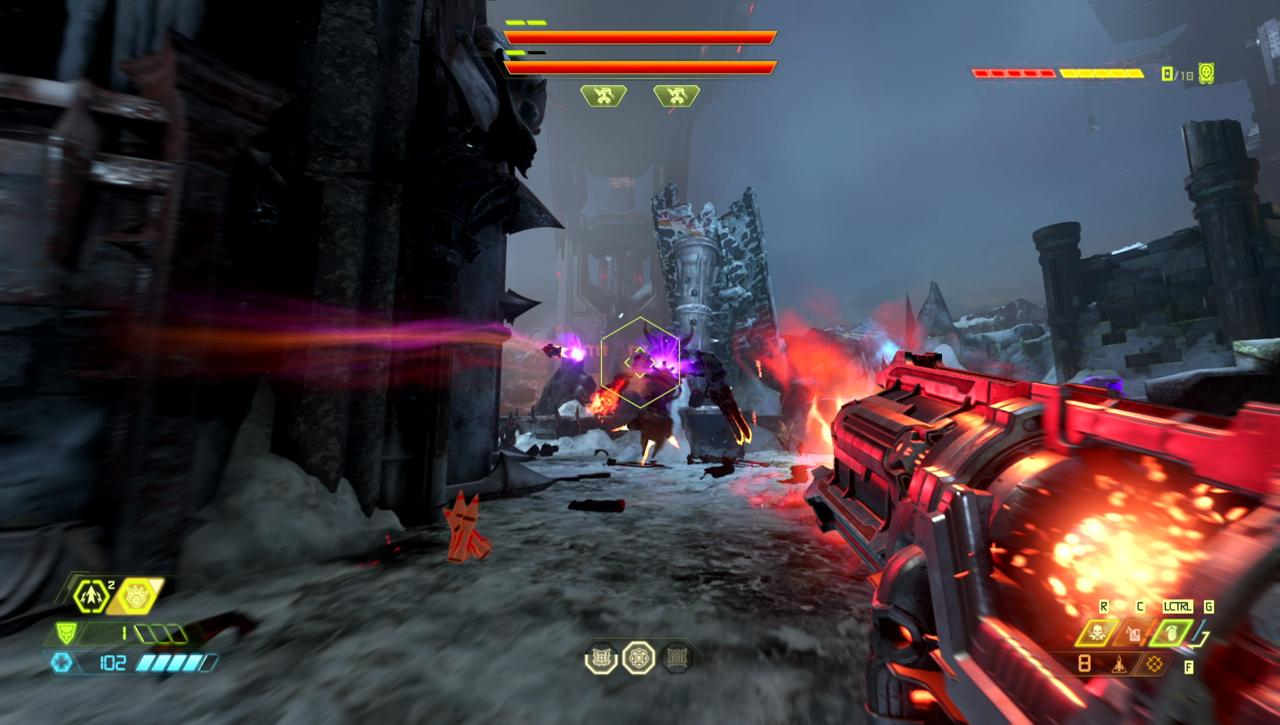 Lock-on rockets from a distance are your best bet against the Doom Hunter's second phase.
