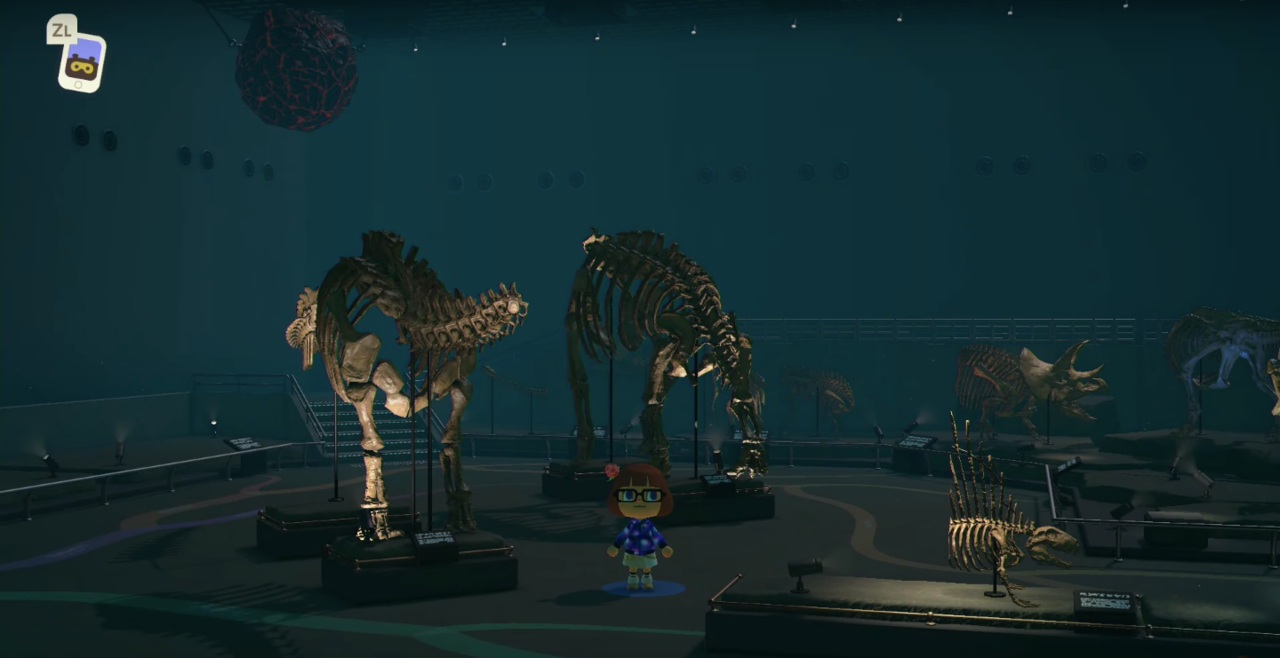 Look at all those fossils! Isn't a bit dark that there's a meteor hanging over the exhibit?