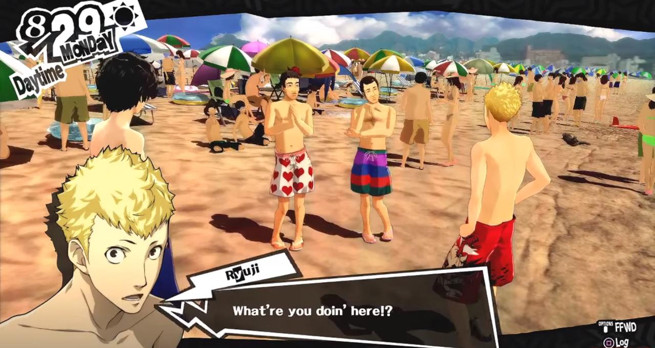 Part of the beach scene in the original Persona 5.