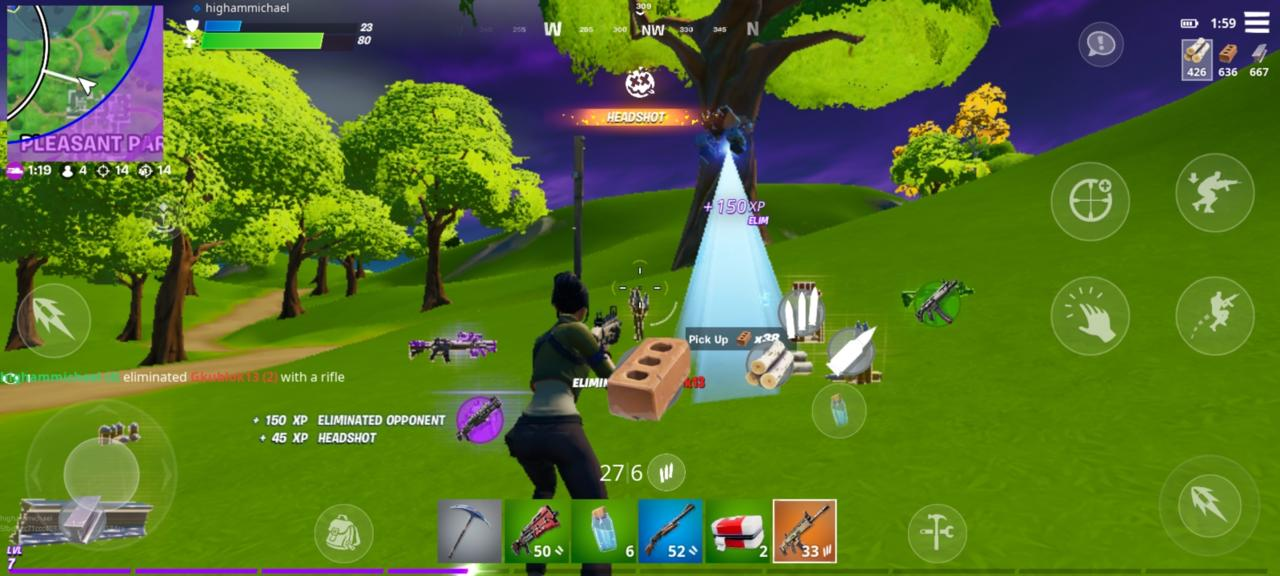 A screenshot of Fortnite on the OnePlus 8. Of course, you can't see it running 90 FPS, but this is what the graphical quality you get in return for high frame rate.