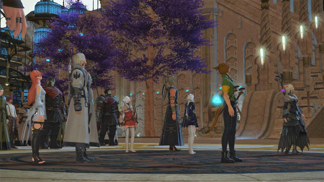 The Scions look up at The First's Crystal Tower one last time before returning home with the people of The Crystarium to see them off.