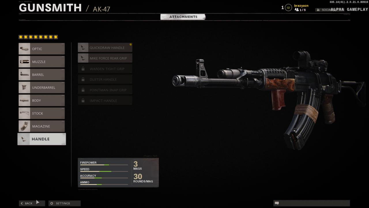 A fully kitted AK-47 using the Gunfighter wildcard and filling all eight attachment slots.