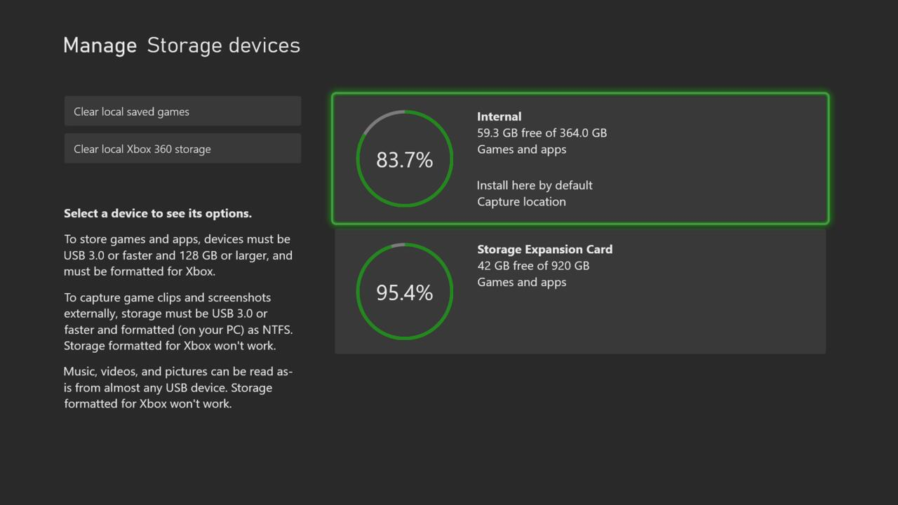 The Series S has 364GB free on the internal SSD, which is not a lot of space for games.
