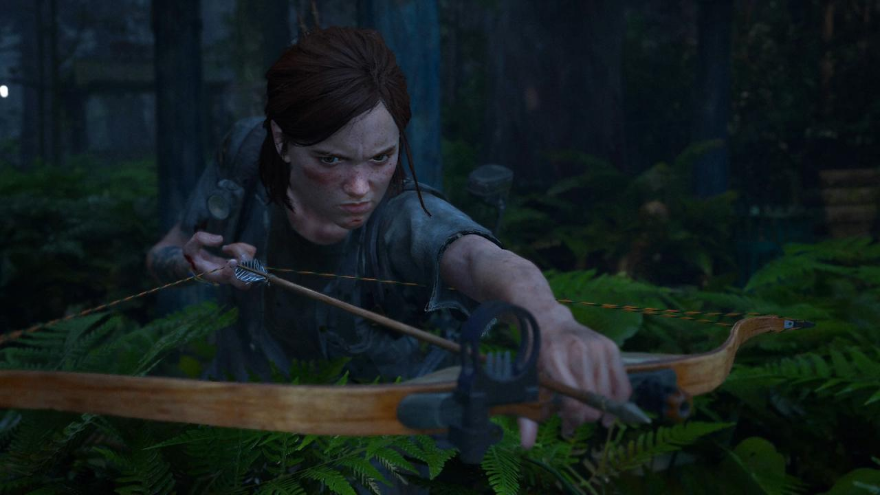 Ellie with her bow and arrow, a favorite weapon for stealth.