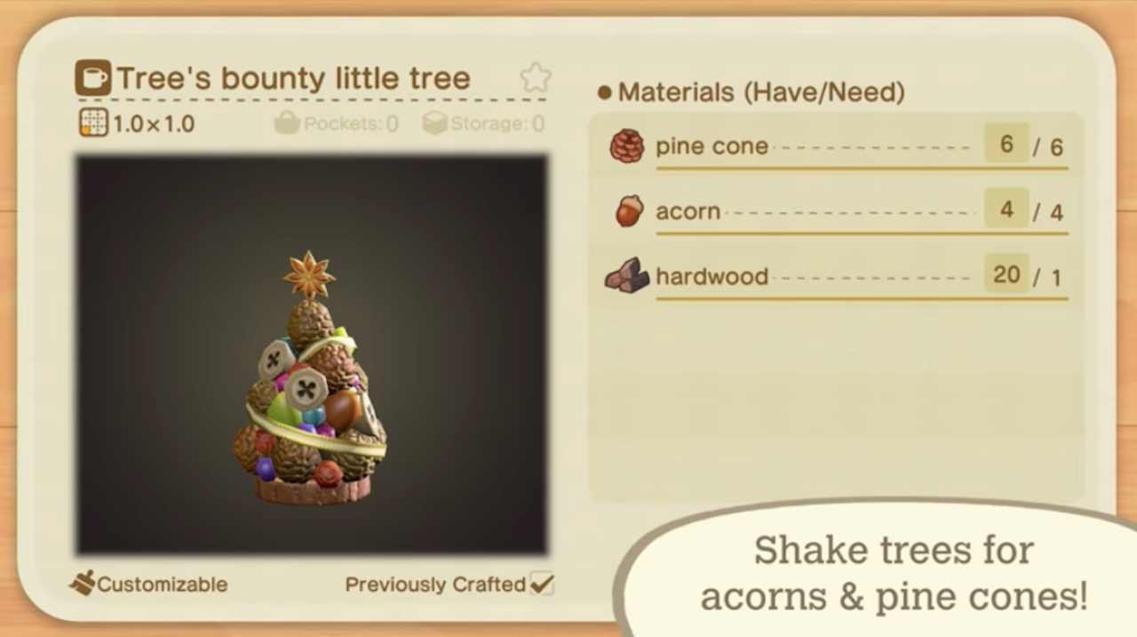 The recipe for tree's bounty little tree as shown in a New Horizons trailer.