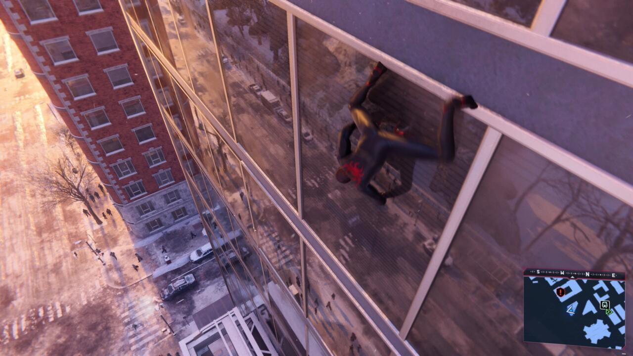Reflections in high-rise windows are impressive in Spider-Man: Miles Morales on PS5.