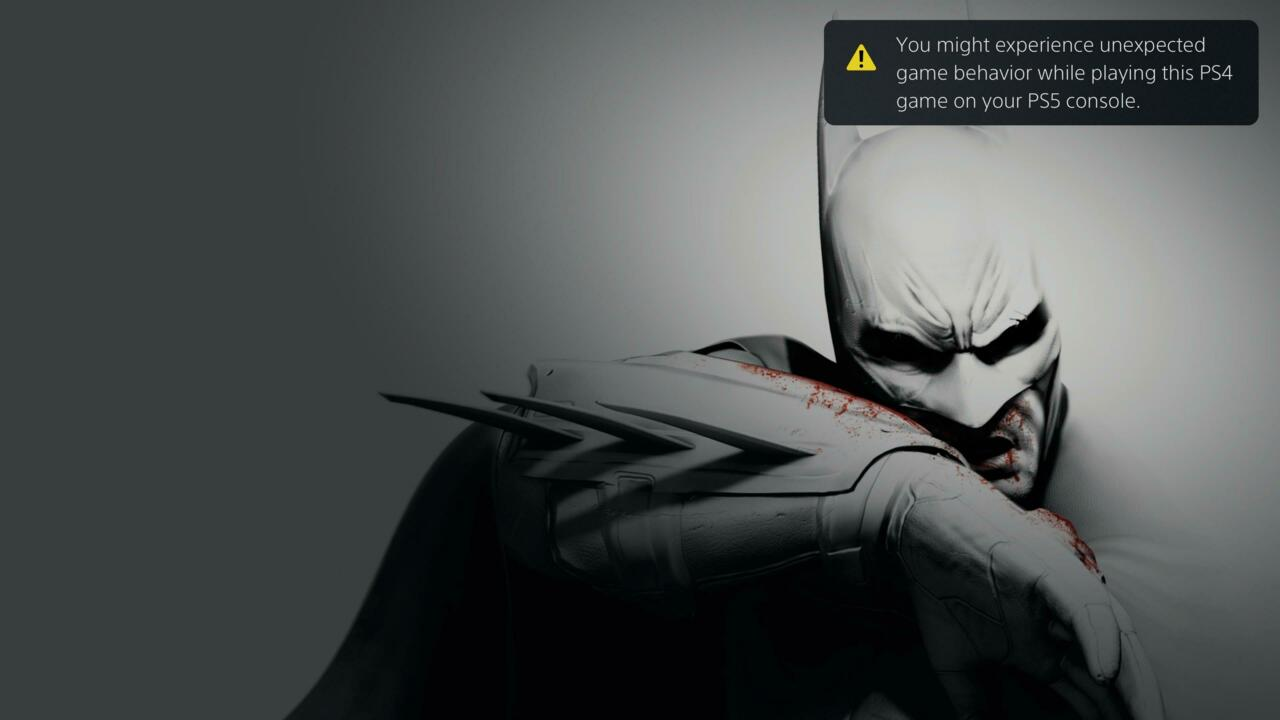 A warning displays when playing Batman: Return to Arkham on PS5. You can view screenshots of other backwards-compatible games running on PS5 in the gallery below.
