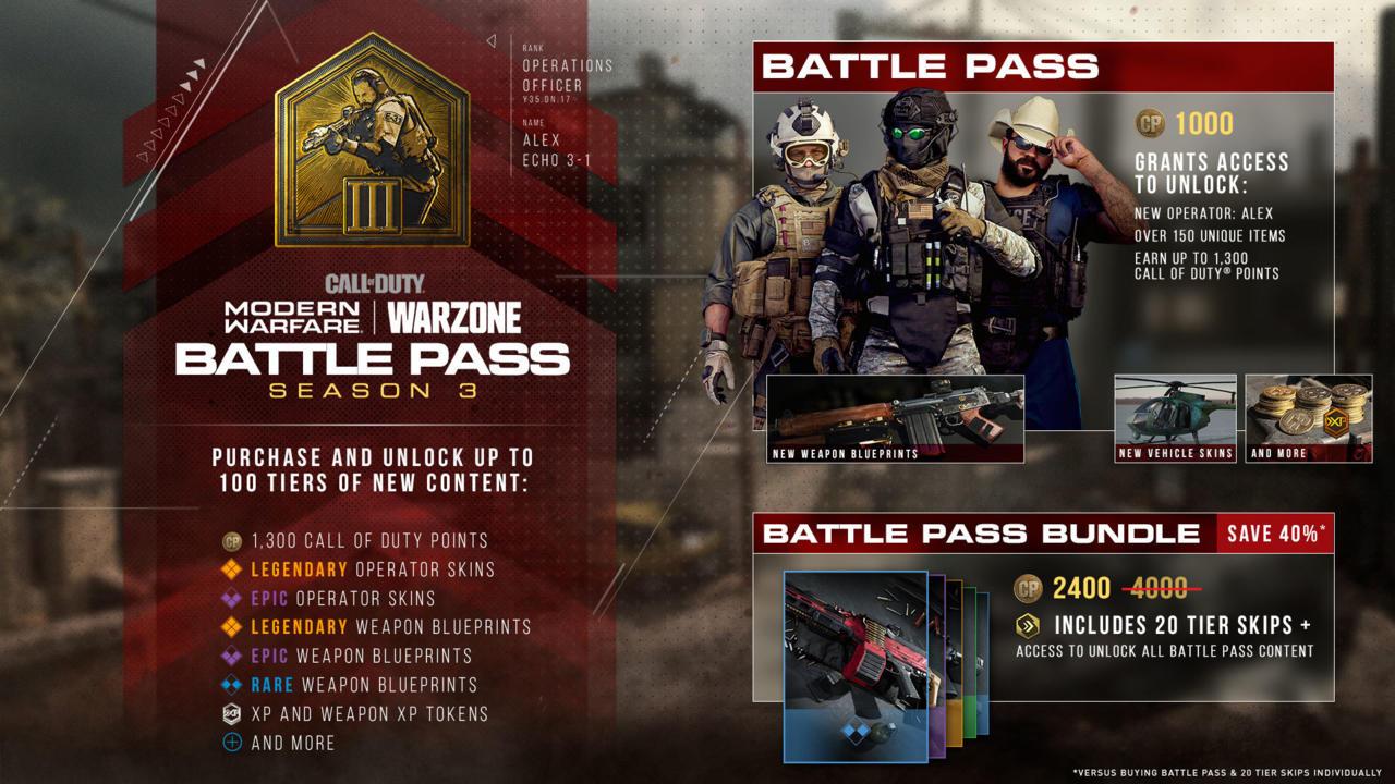 Call of Duty: Modern Warfare Season 3 Battle Pass benefits