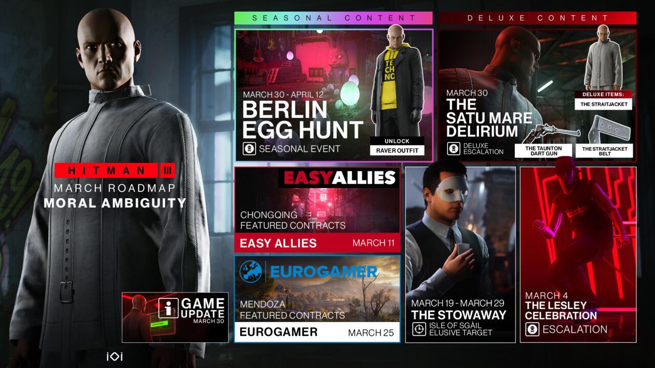 Hitman 3's March 2021 content roadmap.