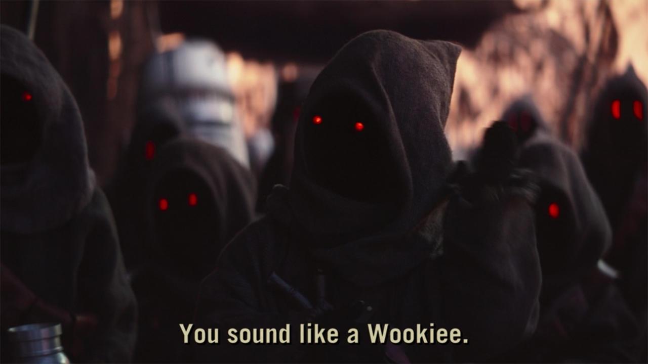 9. Mando sounds like a Wookiee