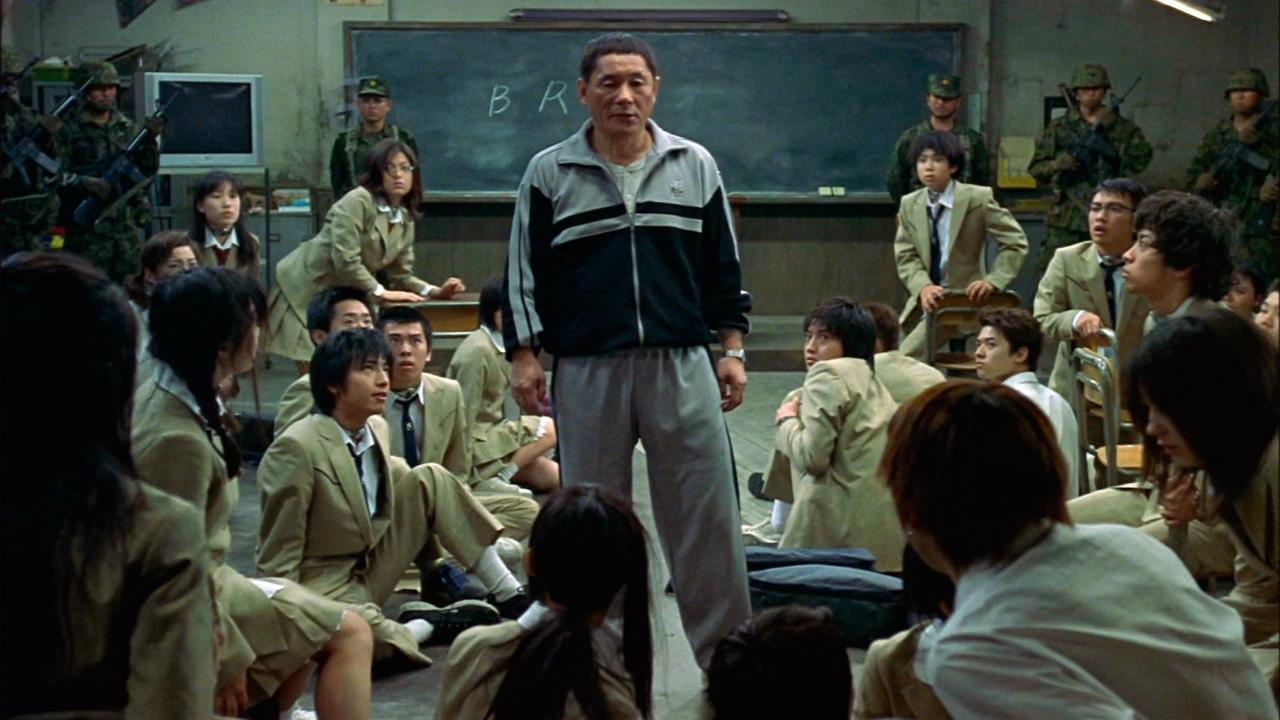 Battle Royale (2000) -- Takeshi Kitano explains 'BR' to the class.