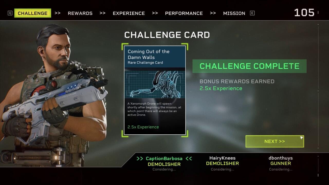 To spice up missions, you can select special challenge cards that adds interesting modifiers and bonuses, some of which make the Xenomorphs an even greater threat.