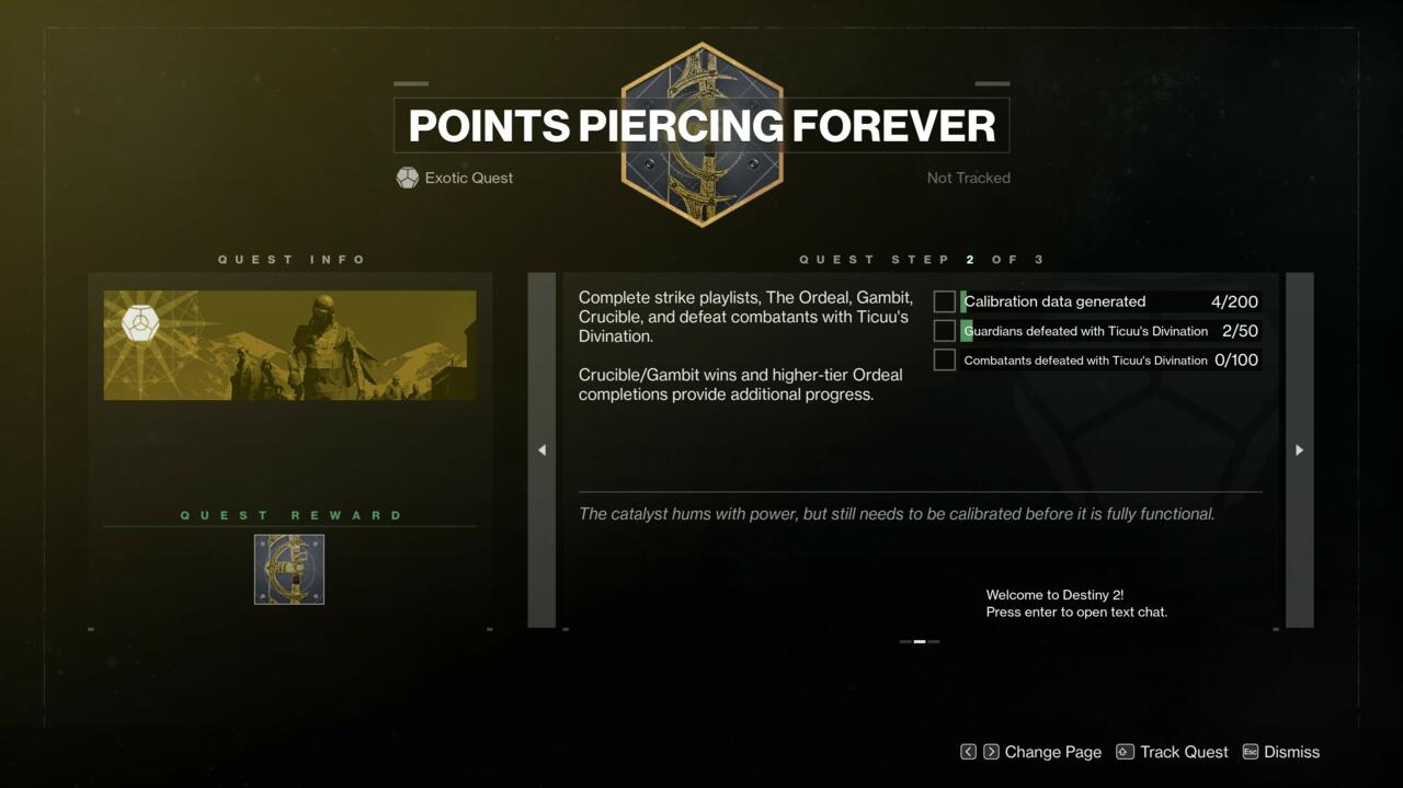 The second step in Points Piercing Forever is the tough one, requiring you to play through lots of activities and to take down a whole lot of Guardians.