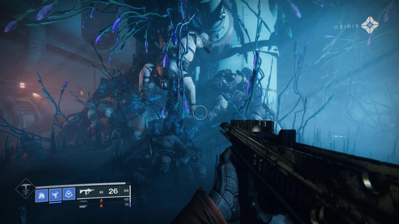 These Cabal, found wrapped in purple vines, are in the first room when you enter the Glykon proper.