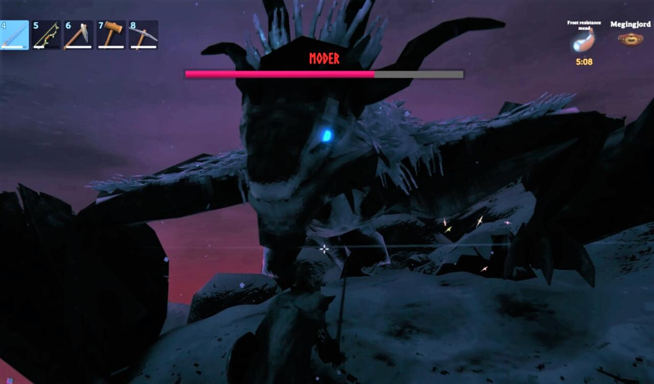 With Moder on the ground, you can deal more damage than with arrows--just block your way through the boss's melee attacks.
