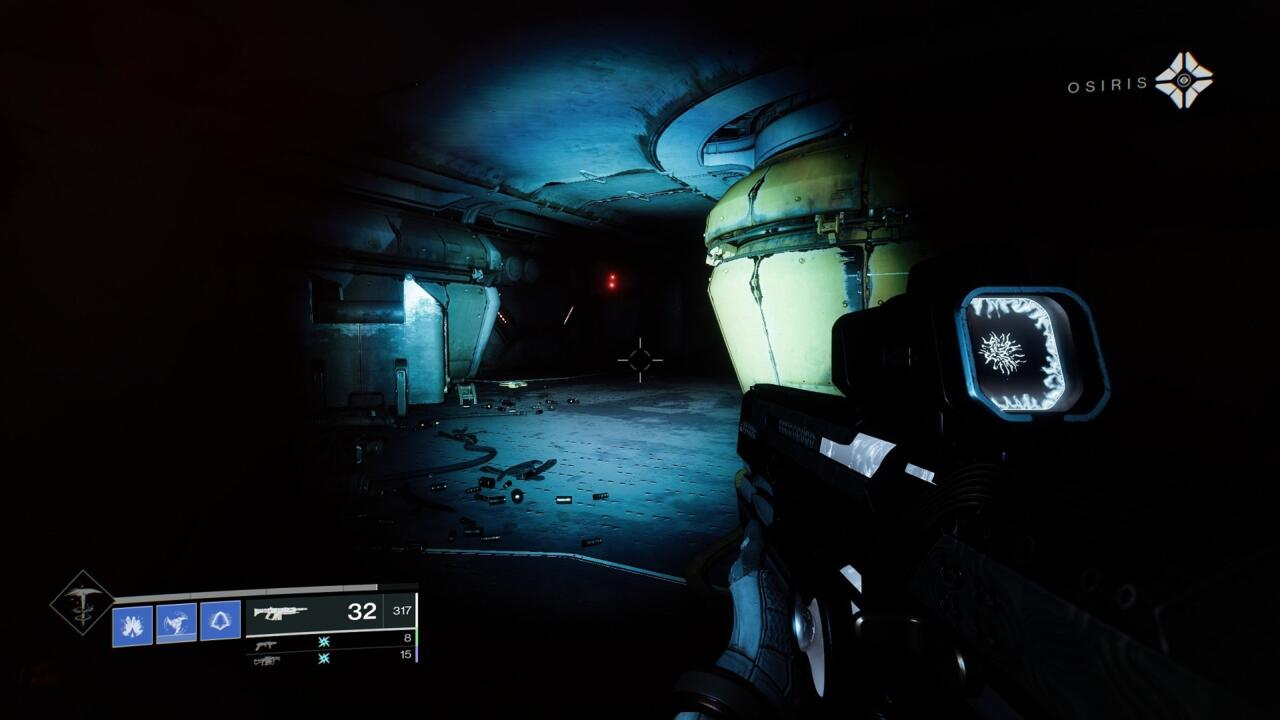 Just after you see the Locus of Communion for the first time and fight a bunch of Scorn, you'll pass through a red-lit room and into a darkened Cargo Bay. Look to the left for the cache door you can open this week.