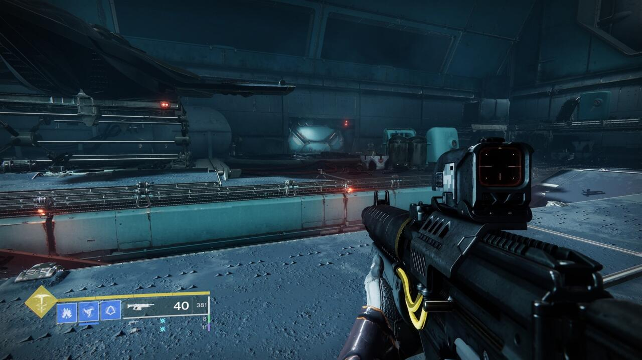 The Hangar cache is one of the easier ones to locate, but you'll have to clear the room of Scorn in order to open it.