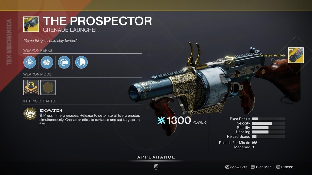 The Prospector is awesome for controlling an area and setting traps. Try it when holding or taking Iron Banner control points, using its sticky grenades to take out lots of targets at once.