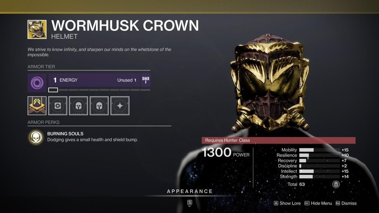 Wormhusk Crown's boost of healing can be enough to keep you alive in sticky situations in the Crucible--it's absolutely worth having.