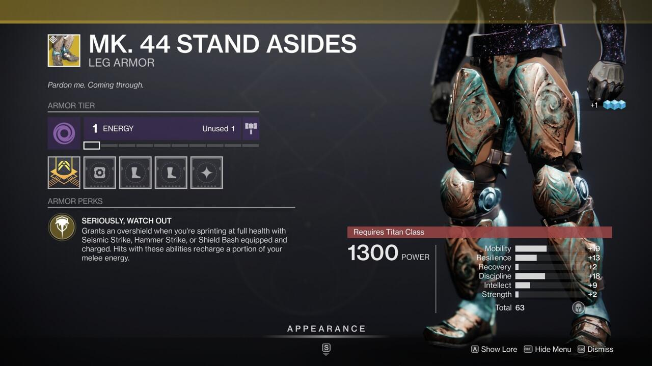 Mk. 44 Stand Asides give you an overshield to make your shoulder charge-style melee strikes a little safer, while also refilling your melee energy when you use them.