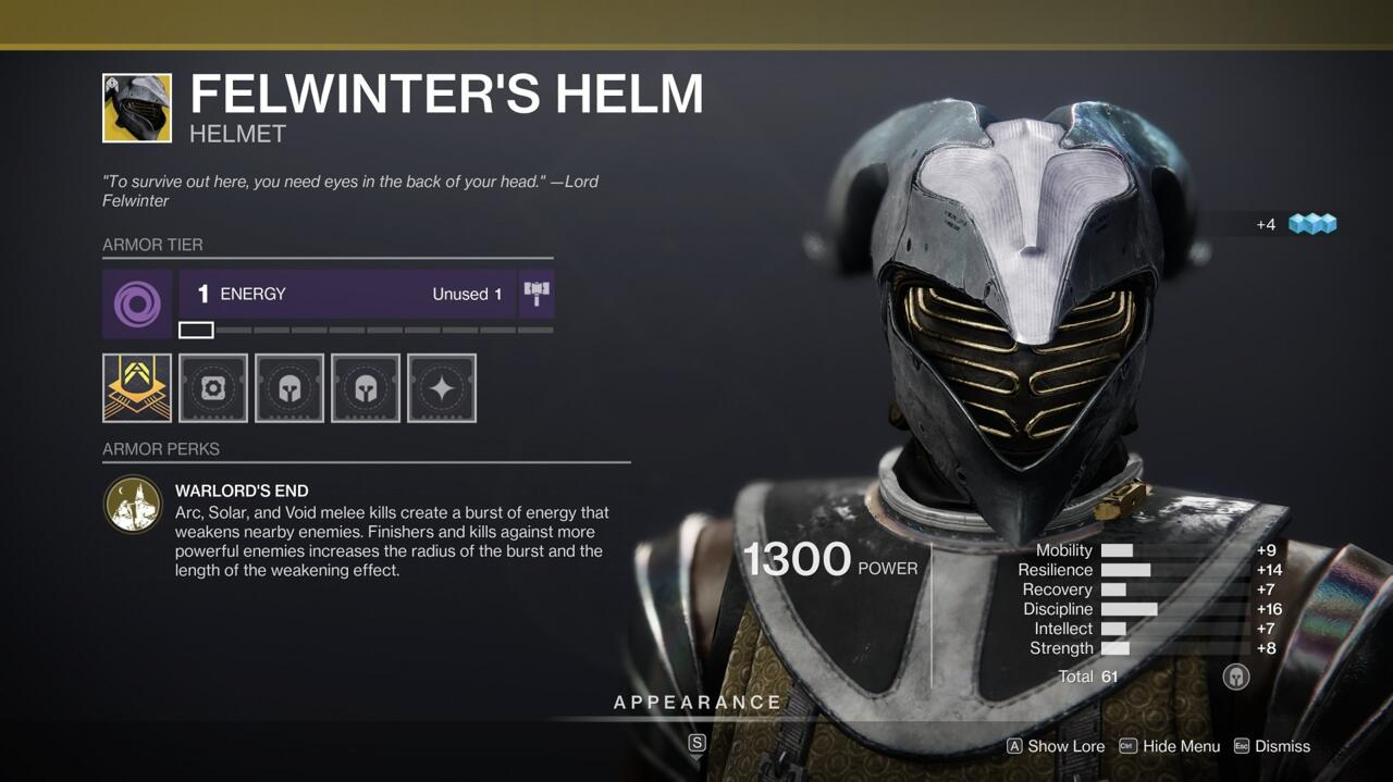 With Felwinter's Helm, killing an enemy with your melee ability weakens nearby enemies, giving you an incentive to wade into the fray.