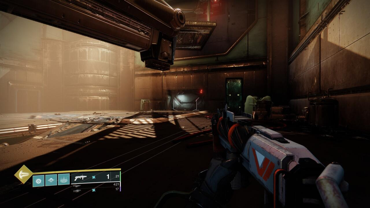 After the big Hangar fight, you'll find this cache just past the docked ship hanging from the ceiling.