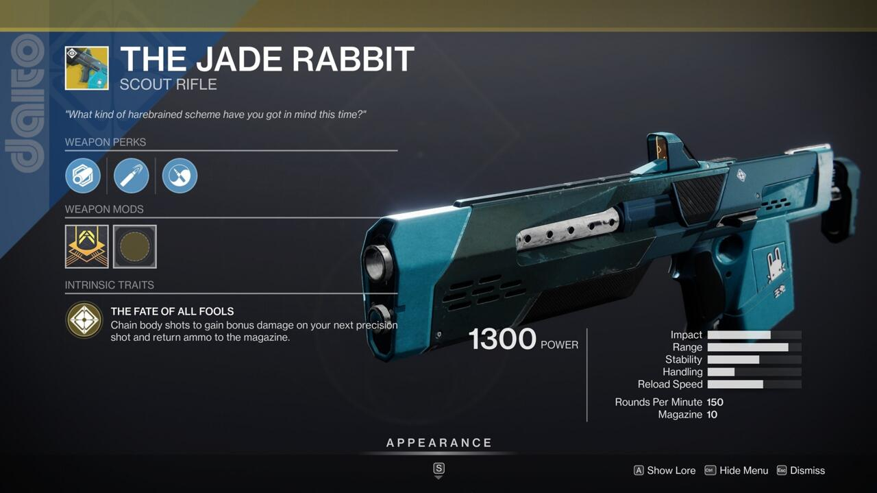 Now that scout rifles are a more viable part of the Destiny 2 meta, you should give The Jade Rabbit a try in the Crucible.