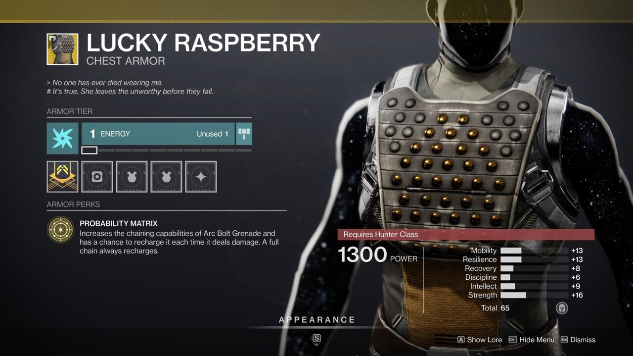 Your Arc Bolt grenades are much more effective with Lucky Raspberry, and doing damage with them gives a chance to recharge your grenade energy.