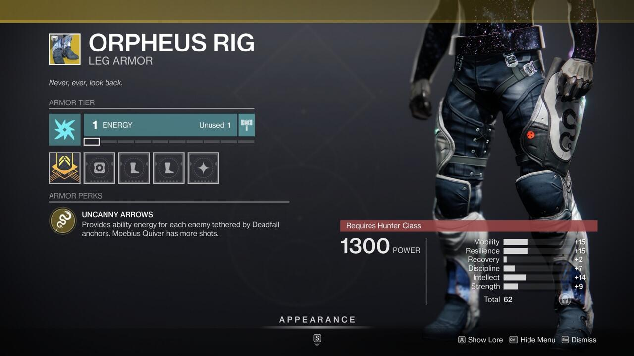 Orpheus Rig is a useful standby Exotic for Hunters, and you'll want it in tough PvE situations.