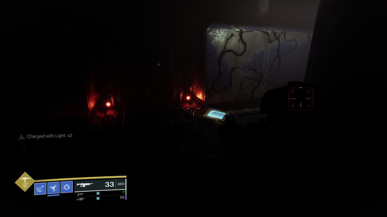 The maze of vents hides your next cache. It can be confusing to find, so look for the red lights and glowing datapad.