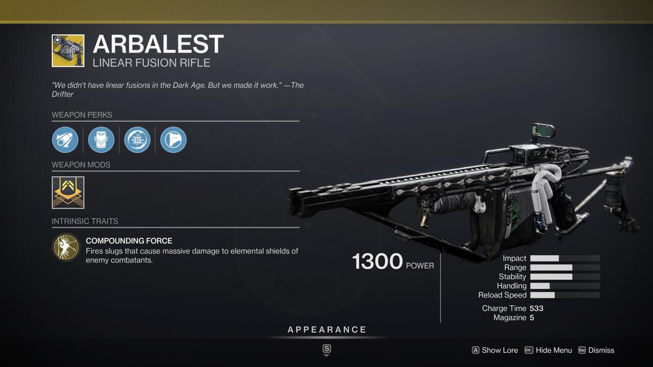 A headshot with Arbalest is enough to kill an opponent in the Crucible, but even if you only hit the body, you'll have a big advantage over your foes.