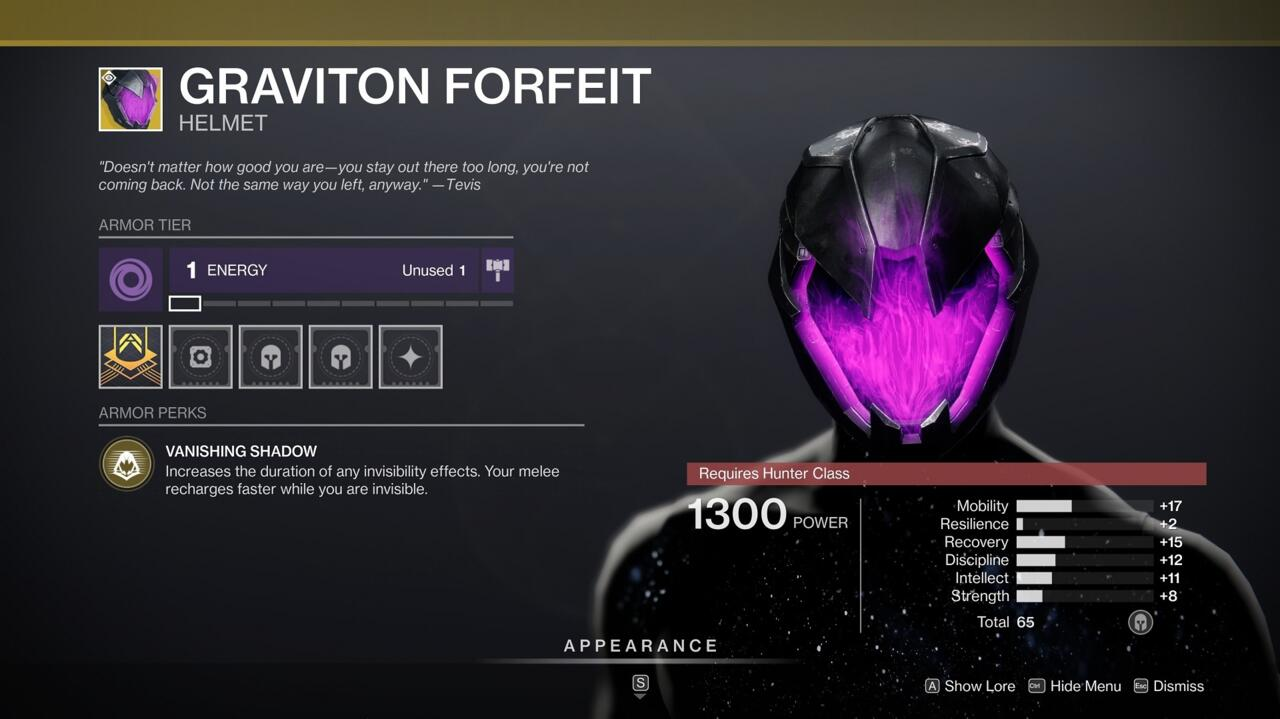 With Graviton Forfeit, you can be invisible for longer and make yourself invisible more often.