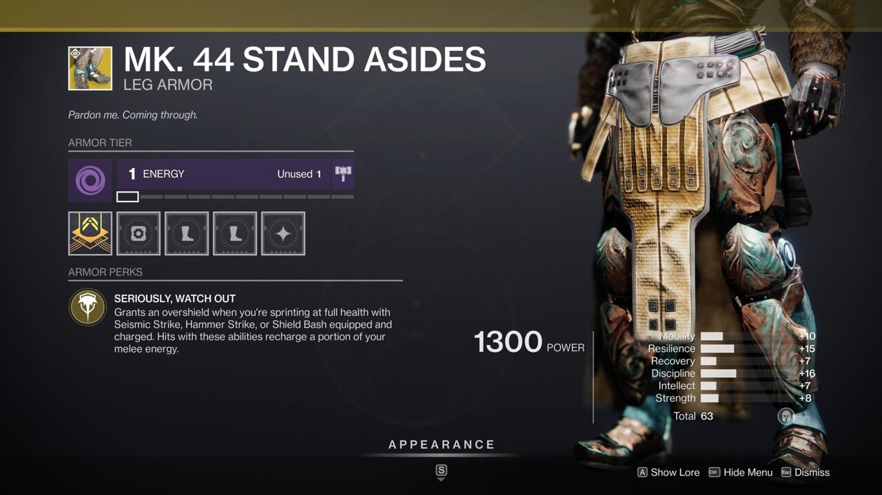 If you like running straight at your opponents and smashing them with a shield or hammer, Mk. 44 Stand Asides are for you.