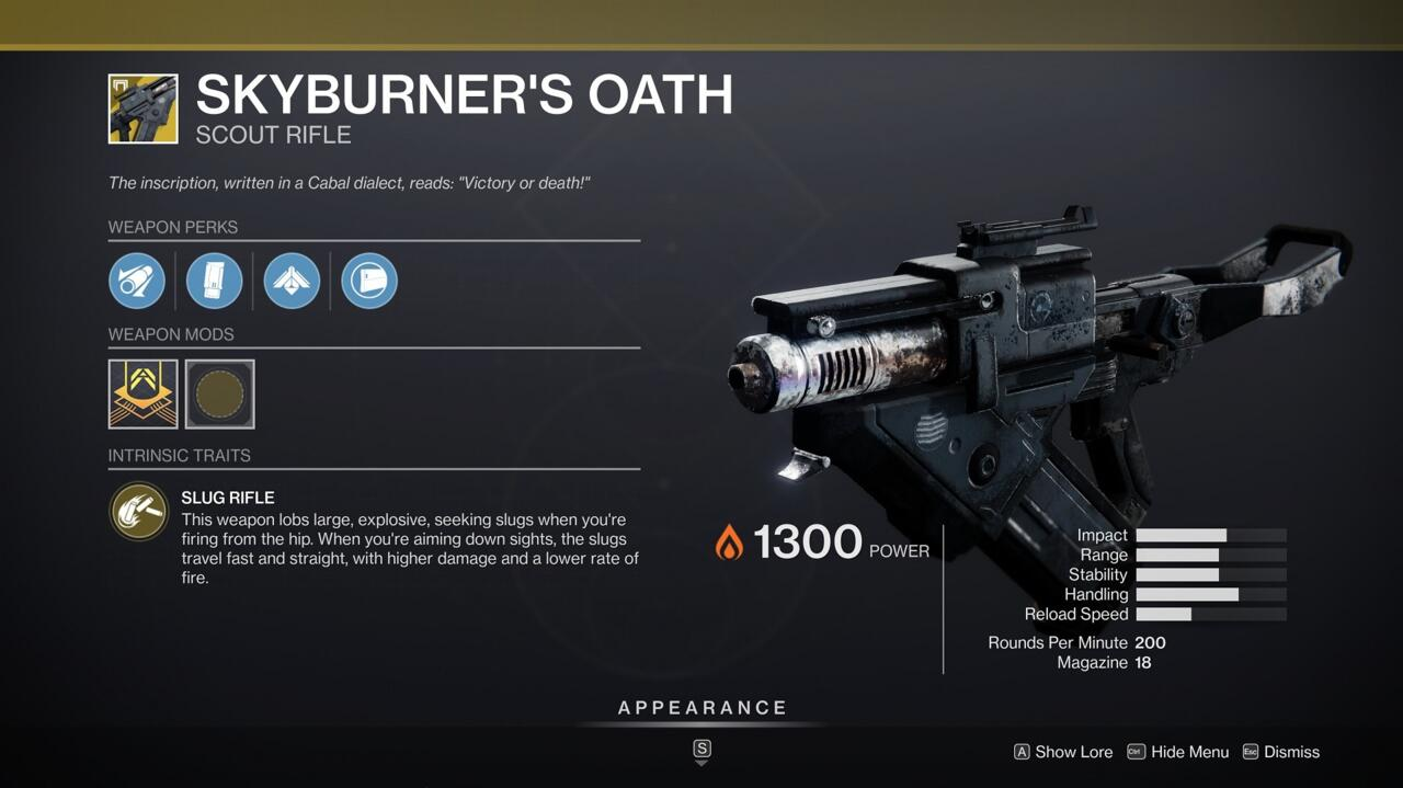 Use the Cabal's own weapons against them for some serious bonus damage with Skyburner's Oath.