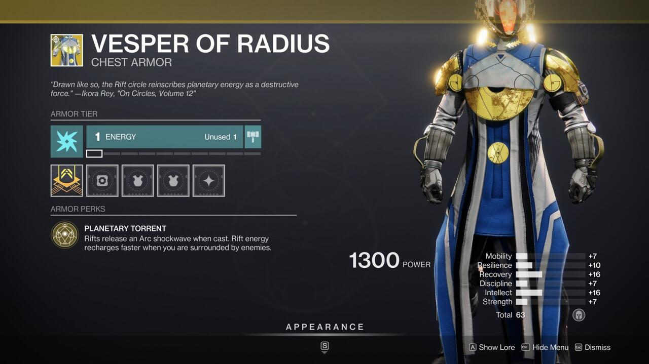 Use your rifts as an offensive tool when wearing Vesper of Radius.