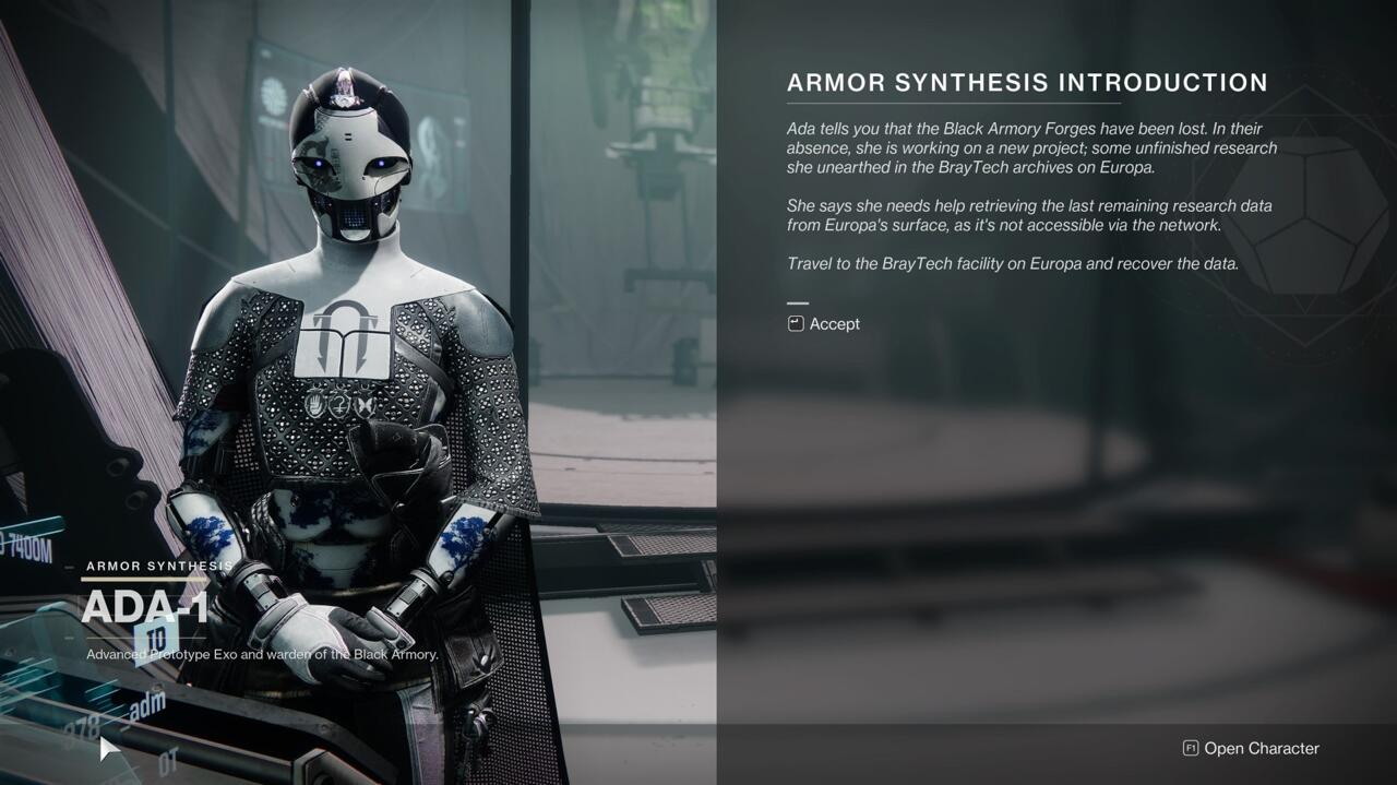 Talk to Ada about the way she's reworked the Black Armory and help her complete the Loom.