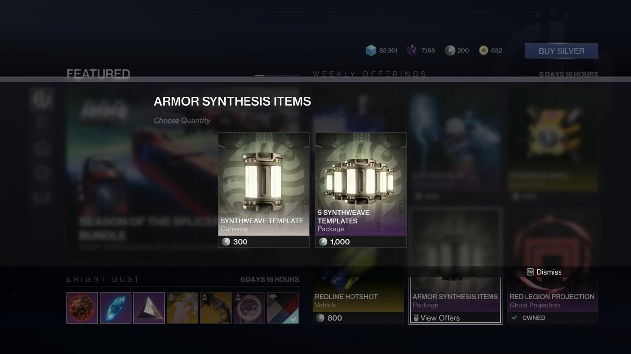 Synthweave you earn through gameplay is tied to the character class that earned it, but you can purchase Synthweave that works for any character in the Eververse Store.