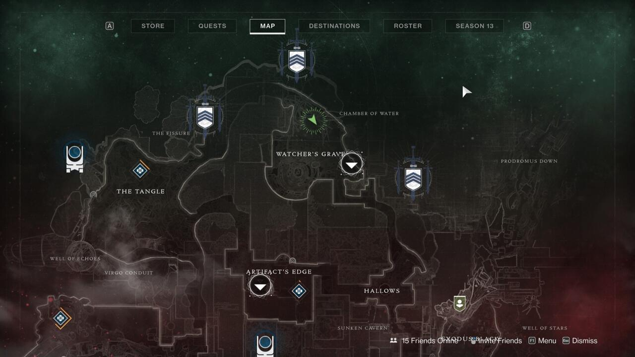 Go to the very north end of Watcher's Grave and climb the big tree there to locate Xur.