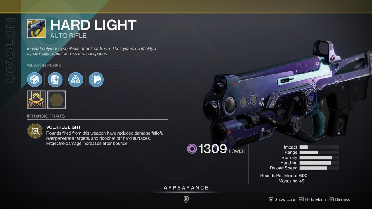 Hard Light's ability to change element type in the middle of a fight makes it awesome for just about any PvE activity.