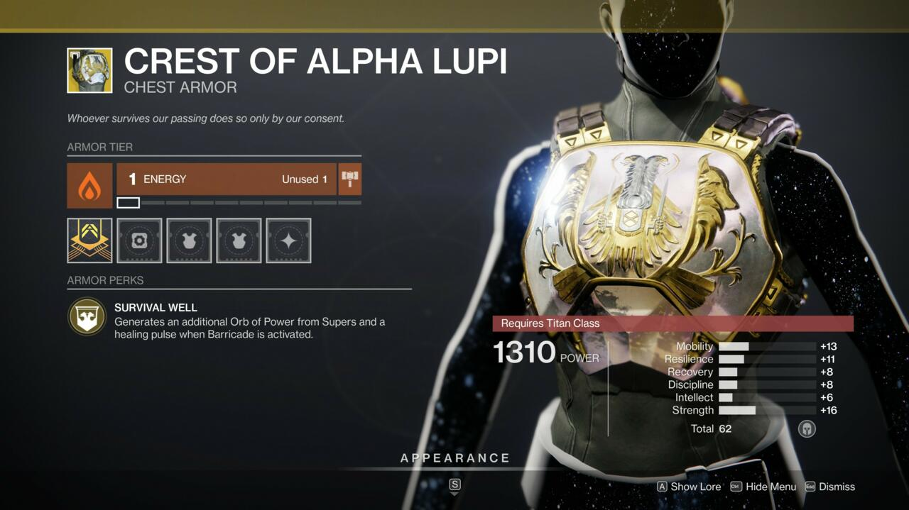 Titans who like to support their teammates can help keep them healed and under cover with Crest of Alpha Lupi.