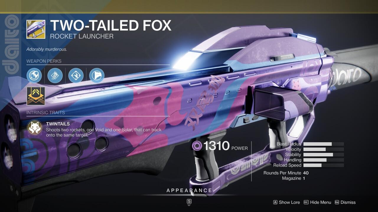 The dual tracking rockets of Two-Tailed Fox nail opponents with both Void and Solar damage, making it great for picking off Guardians or messing up bosses with a combination of damage types.