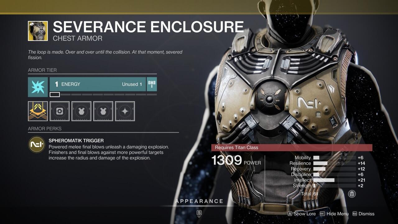 Add explosions to your powered Titan melee kills and finishing moves with Severance Enclosure.