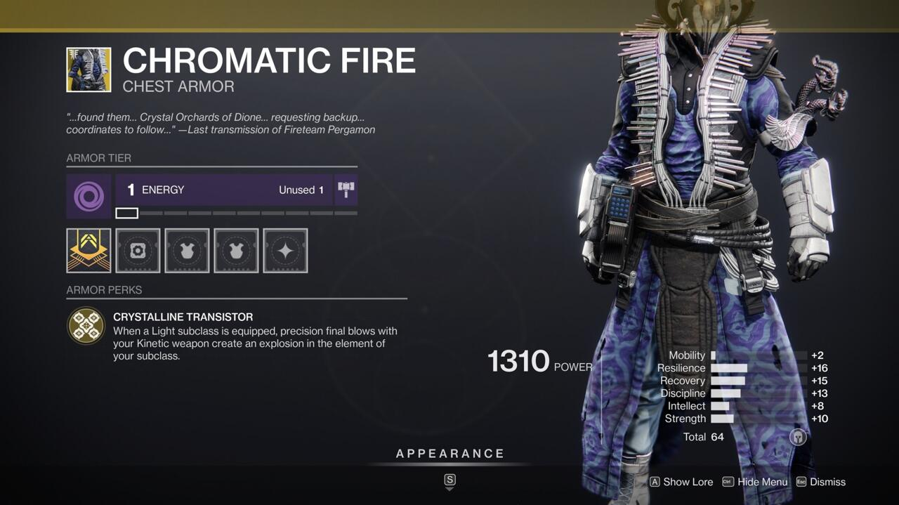 Another Exotic for making people go boom, Chromatic Fire lets you explode your enemies when you kill them with Kinetic weapons.