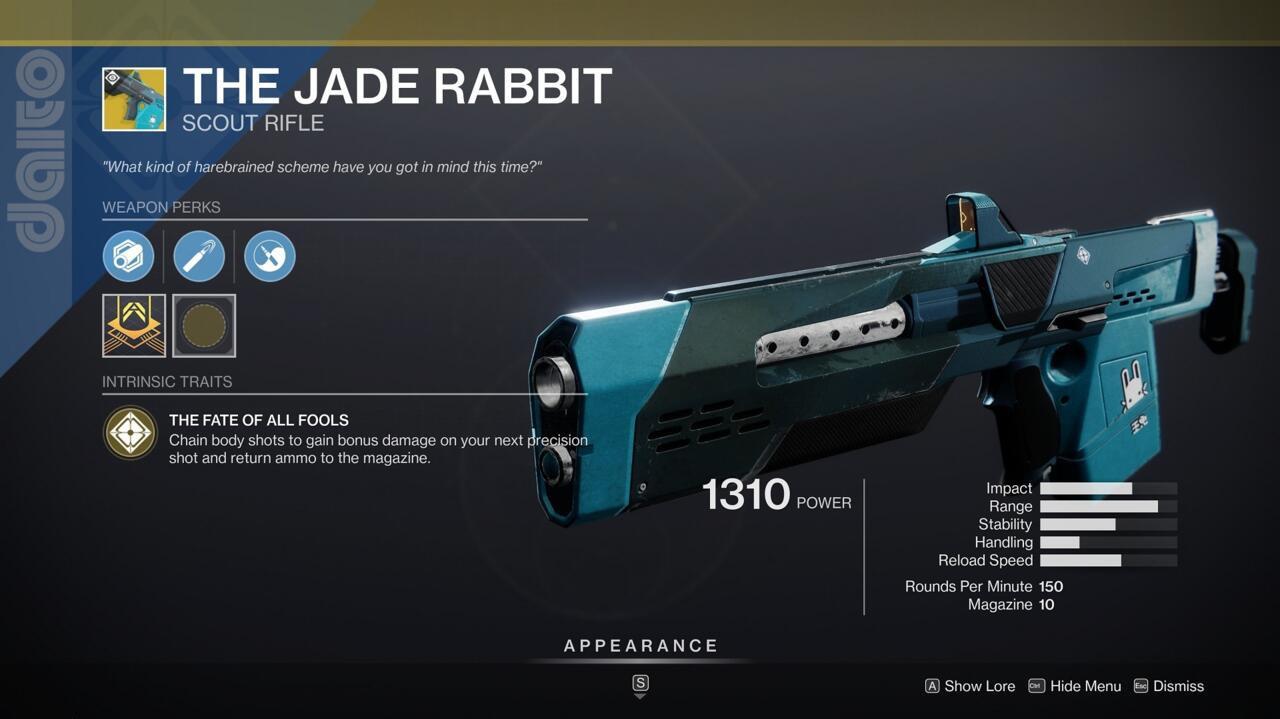 A powerful scout rifle with a ton of range, The Jade Rabbit is great for taking down Guardians from across a Crucible map.