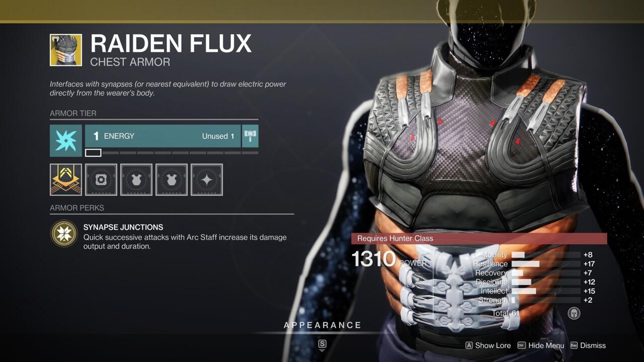 Your Arc Staff Super rips through enemies even more effectively when you're wearing Raiden Flux.